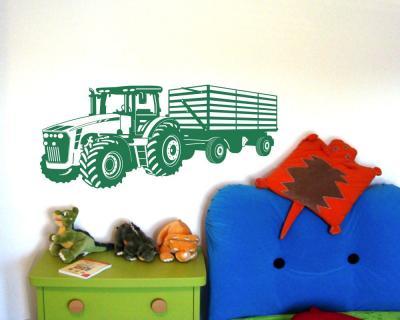 Wandtattoo Traktor mit Anhänger Trecker Kinderzimmer Kinder ...