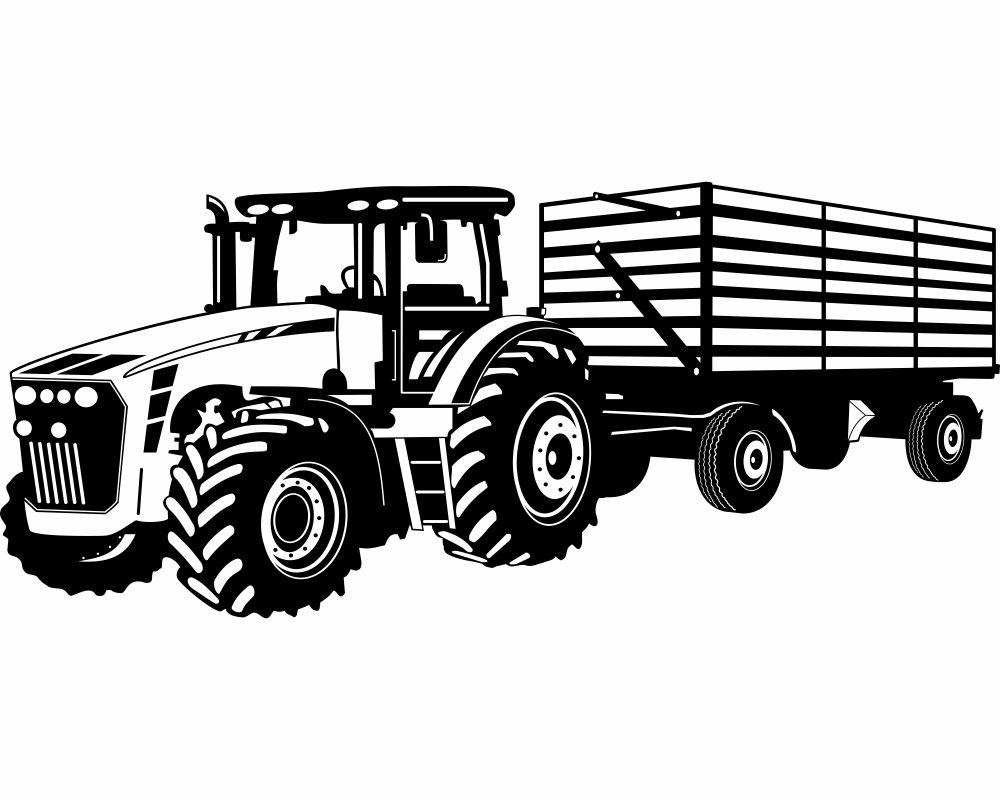 Wandtattoo traktor mit anh nger trecker kinderzimmer aufkleber 25 farben 8 gr e ebay - Wandtattoo traktor kinderzimmer ...