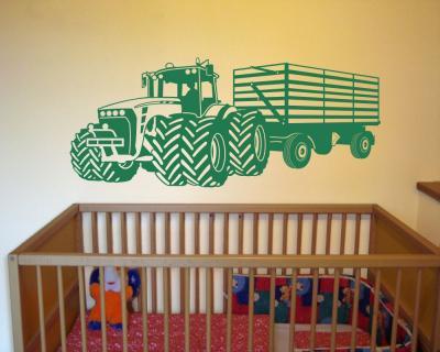 Wandtattoo gro er traktor mit anh nger trecker kinderzimmer kinder wandaufkleber plot4u - Wandtattoo traktor kinderzimmer ...