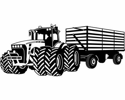 Wandtattoo Großer Traktor mit Anhänger Trecker Kinderzimmer Kinder ...