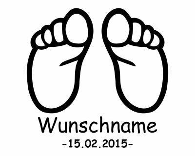 Baby Fusse Mit Name Und Geburtsdatum Wandtattoo Wandaufkleber Wandsticker Plot4u