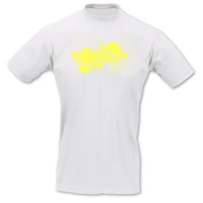 T-Shirt Turntables weiß/neon gelb XL