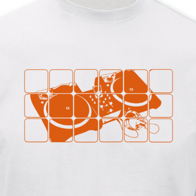 T-Shirt Turntables weiß/neon orange 2XL Sonderangebot
