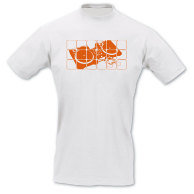 T-Shirt Turntables wei�/neon orange 2XL