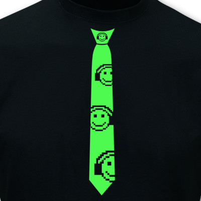 Krawatten T-Shirt Musik Smiley neon T-Shirt