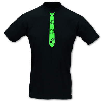 Krawatten T-Shirt Musik Smiley neon