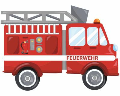 cooles feuerwehrauto wandtattoo feuerwehr wandaufkleber. Black Bedroom Furniture Sets. Home Design Ideas