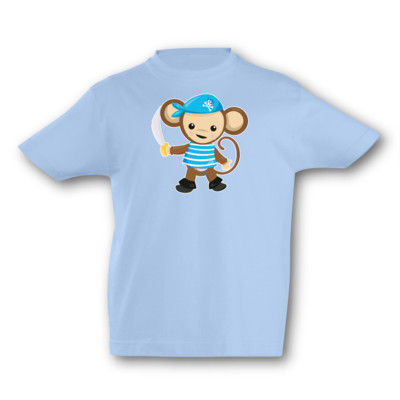 Kinder T-Shirt Blauer Piraten Affe