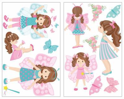 13 Teiliges Schmetterlings Prinzessin Mädchen Wandtattoo Set