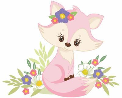 Wandtattoo Rosa Fuchs Mit Blumen Baby Tiere Kinderzimmer