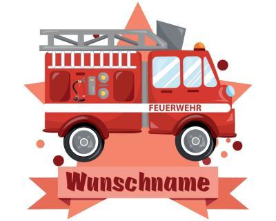 Feuerwehr Auto Wandtattoo Turschild Mit Name Personalisierbar