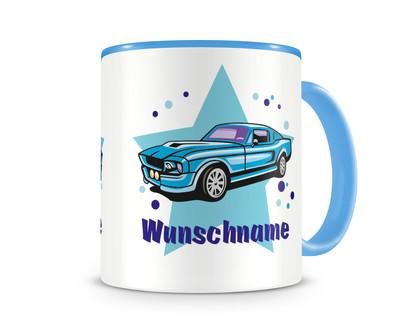 kinder tasse mit namen und einem blauen auto als motiv bild kaffeetasse teetasse becher. Black Bedroom Furniture Sets. Home Design Ideas