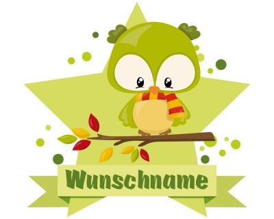 Süßer Herbst Vogel Wandtattoo Türschild mit Name ...