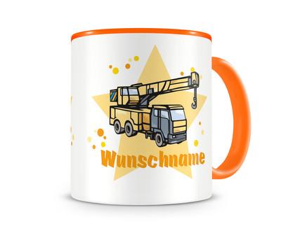 kinder tasse mit namen und kranwagen als motiv bild kaffeetasse teetasse becher kakaotasse plot4u. Black Bedroom Furniture Sets. Home Design Ideas