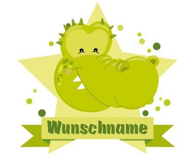 Krokodil wandtattoo t rschild mit name personalisierbar - Krokodil wandtattoo ...