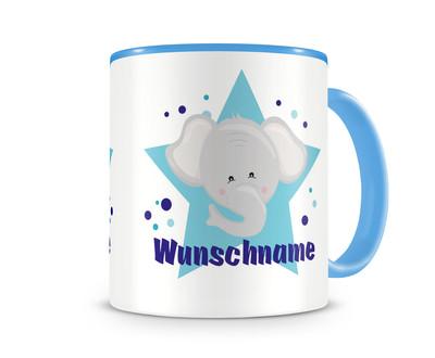 kinder tasse mit namen und einem lustigen elefanten als motiv bild kaffeetasse teetasse becher. Black Bedroom Furniture Sets. Home Design Ideas