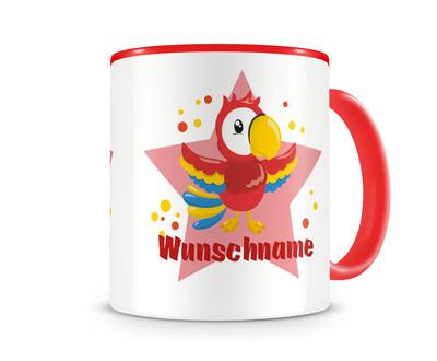 kinder tasse mit namen und einem lustigen papagei als motiv bild kaffeetasse teetasse becher. Black Bedroom Furniture Sets. Home Design Ideas