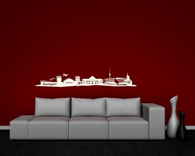 wandtattoo stuttgart skyline creme 140 x 25cm. Black Bedroom Furniture Sets. Home Design Ideas