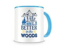 Tasse mit dem Motiv Life Is Better In The Woods Tasse Modellnummer 003963-056-056  hellblau/hellblau