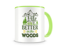 Tasse mit dem Motiv Life Is Better In The Woods Tasse Modellnummer 003963-902-902  grün/grün