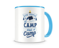 Tasse mit dem Motiv What Happens At Camp Stays At Camp Tasse Modellnummer 003975-056-056  hellblau/hellblau