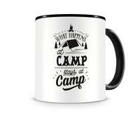 Tasse mit dem Motiv What Happens At Camp Stays At Camp Tasse Modellnummer 003975-070-070  schwarz/schwarz