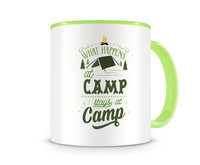 Tasse mit dem Motiv What Happens At Camp Stays At Camp Tasse Modellnummer 003975-902-902  grün/grün
