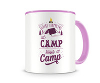 Tasse mit dem Motiv What Happens At Camp Stays At Camp Tasse Modellnummer 003975-972-972  rosa/rosa