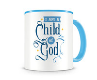 Tasse mit dem Motiv I Am A Child Of God Tasse Modellnummer 003994-056-056  hellblau/hellblau