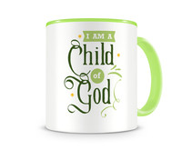 Tasse mit dem Motiv I Am A Child Of God Tasse Modellnummer 003994-902-902  grün/grün