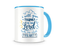Tasse mit dem Motiv Thanks To The Lord Tasse Modellnummer 003997-056-056  hellblau/hellblau