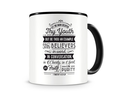 Tasse mit dem Motiv Let No Man Despise Thy Youth