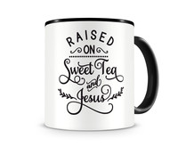 Tasse mit dem Motiv Raised On Sweet Tea And Jesus Tasse Modellnummer 004008-070-070  schwarz/schwarz