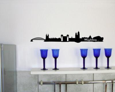 30cm wandsticker magdeburg skyline wandaufkleber wandtattoo sticker aufkleber ebay. Black Bedroom Furniture Sets. Home Design Ideas