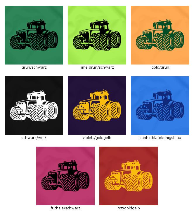 Samunshi Turnbeutel Traktor Trecker Sportbeutel  8 Farben 45 x 34 cm
