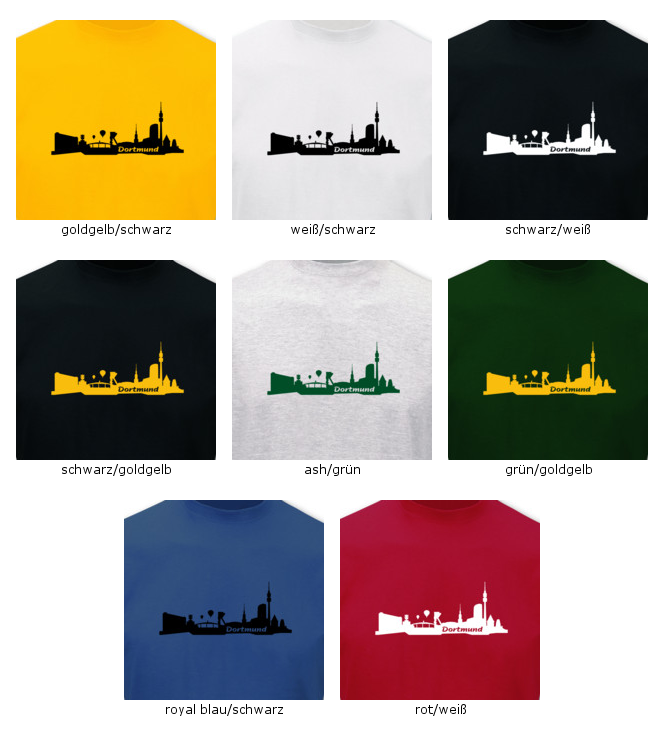 t shirt dortmund skyline 8 farben s 5xl ebay. Black Bedroom Furniture Sets. Home Design Ideas