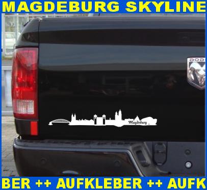 Autoaufkleber-Magdeburg-Skyline-Aufkleber-City-25-Farben-9-Groessen